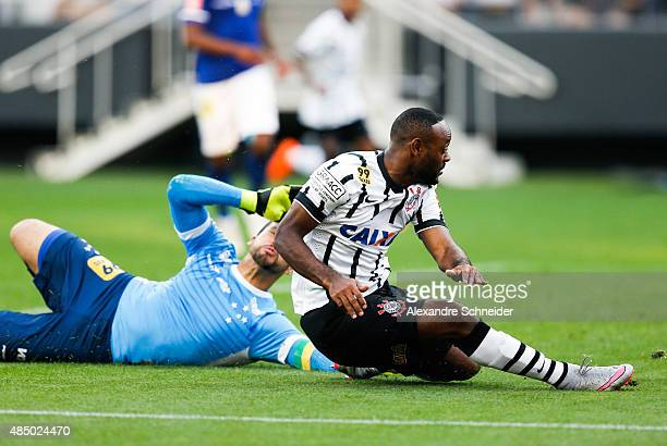 Vagner Love of Corinthians scores their thirth goal during the match between Corinthians and Cruzeiro for the Brazilian Series A 2015 at Arena...
