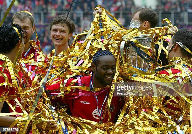 Vagner Love of CSKA Moscow celebrates during the victory ceremony after winning the Russian Cup final against Spartak Moscow in Moscow May 20, 2006....