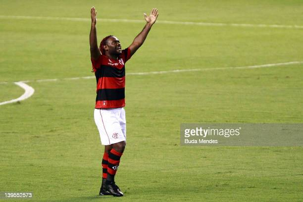 Vagner Love of Flamengo celebrates a scored goal againist Vasco during the semifinal match as part of Rio State Championship 2012 at Engenhao Stadium...