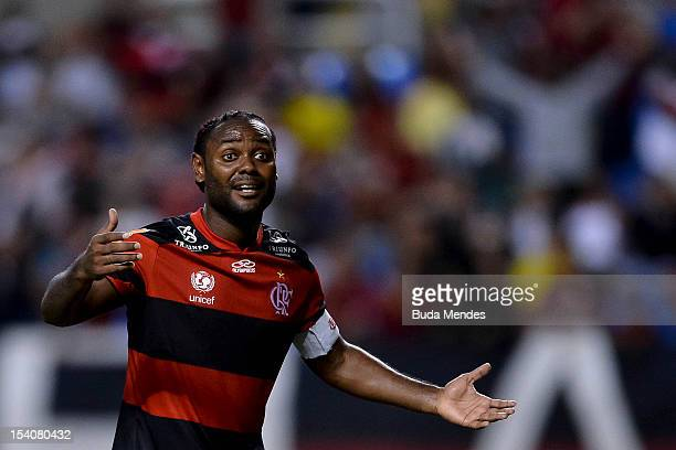 Vagner Love of Flamengo reacts during a match between Flamengo and Cruzeiro as part of the Brazilian Serie A Championship at Engenhao Stadium on...