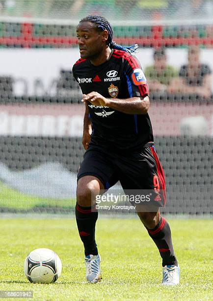 Vagner Love of PFC CSKA Moscow in action during the Russian Premier League match between FC Lokomotiv Moscow and PFC CSKA Moscow at Lokomotiv Stadium...