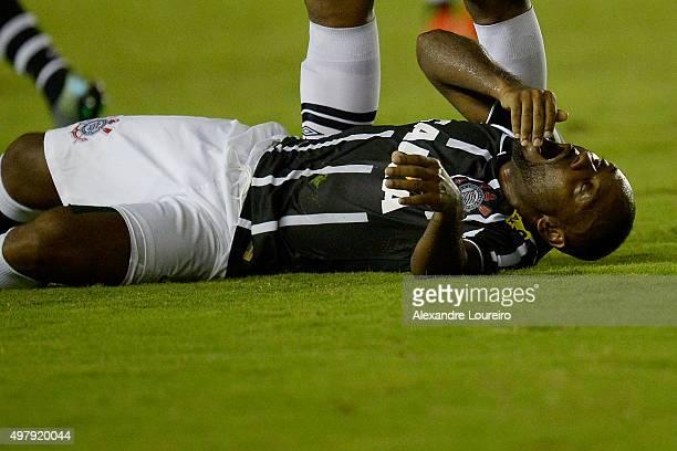 Vagner LoveÊof Corinthians reacts during the match between Vasco and Corinthians as part of Brasileirao Series A 2015 at Sao Januario Stadium on...