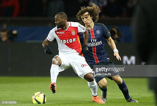 Vagner Silva de Souza aka Vagner Love of Monaco and David Luiz of PSG in action during the French Ligue 1 match between Paris SaintGermain v AS...