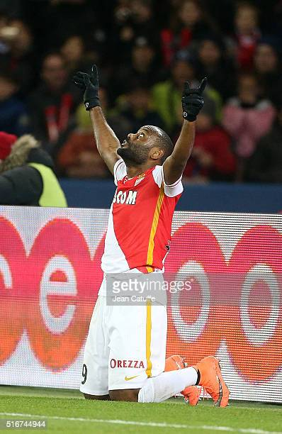 Vagner Silva de Souza aka Vagner Love of Monaco celebrates his goal during the French Ligue 1 match between Paris SaintGermain v AS Monaco at Parc...