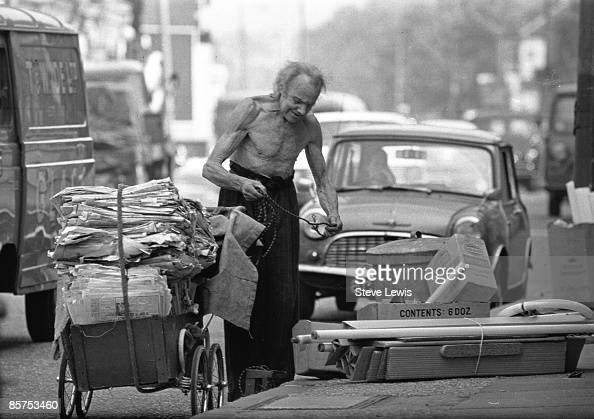 A vagrant man in Stratford, in the East End of London ...