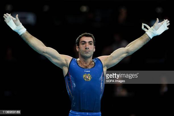 Vahagn Davtyan from Armenia seen in action during Apparatus Finals of 8th European Championships in Artistic Gymnastics