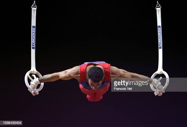 Vahagn Davtyan of Armenia competes on the rings during day nine of the 2018 FIG Artistic Gymnastics Championships at Aspire Dome on November 2 2018...