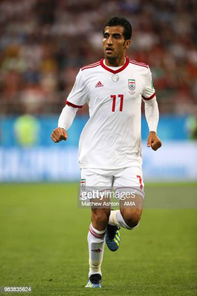 Vahid Amiri of IR Iran in action during the 2018 FIFA World Cup Russia group B match between Iran and Portugal at Mordovia Arena on June 25 2018 in...