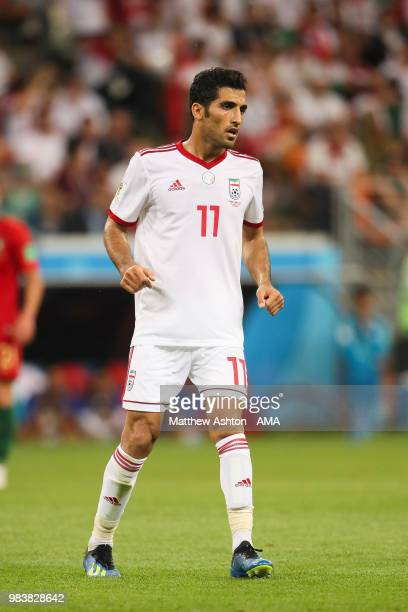 Vahid Amiri of IR Iran n action during the 2018 FIFA World Cup Russia group B match between Iran and Portugal at Mordovia Arena on June 25 2018 in...