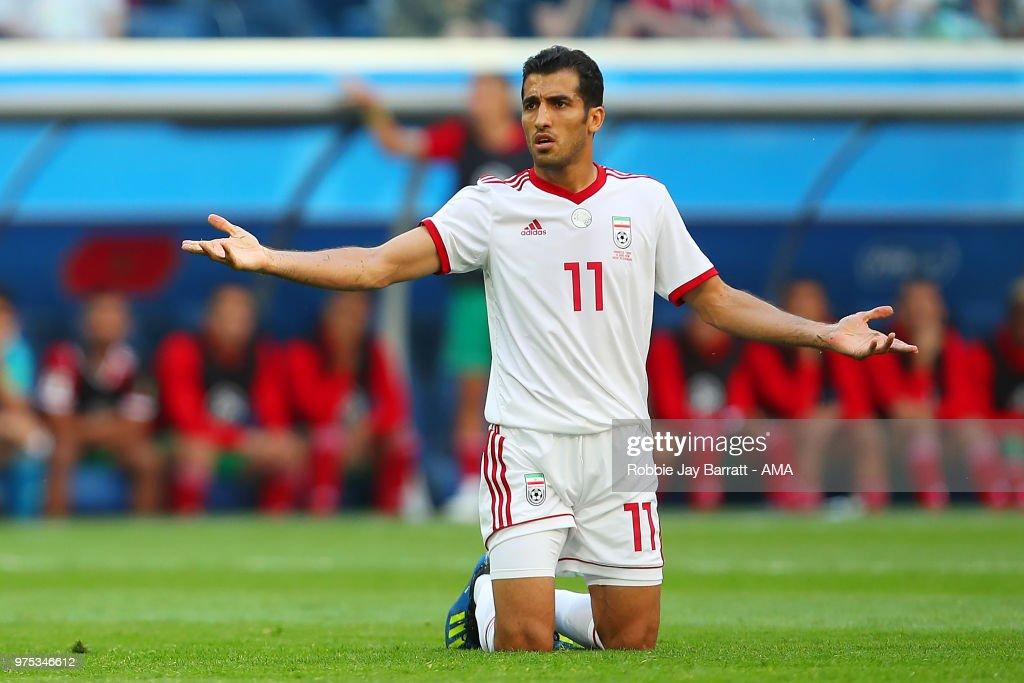 new design meet best choice Vahid Amiri of IR Iran reacts during the 2018 FIFA World Cup ...