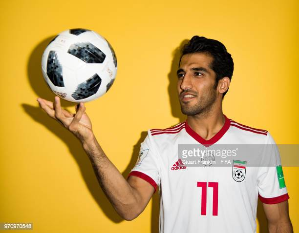Vahid Amiri of Iran poses for a picture during the official FIFA World Cup 2018 portrait session at on June 9 2018 in Moscow Russia