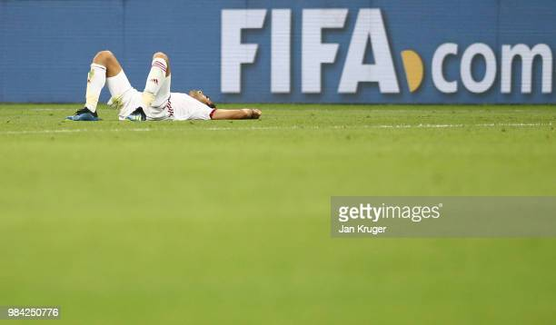 Vahid Amiri of Iran reacts at the final whistle during the 2018 FIFA World Cup Russia group B match between Iran and Portugal at Mordovia Arena on...