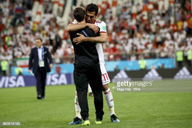 Vahid Amiri of Iran reacts following the 2018 FIFA World Cup Russia group B match between Iran and Portugal at Mordovia Arena on June 25 2018 in...