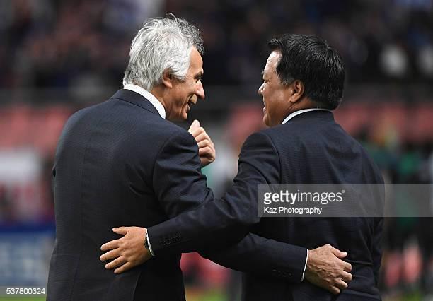 Vahid Halilhodzic head coach of Japan and Japan Football Association President Kozo Tashima celebrate their team's 72 win in the international...