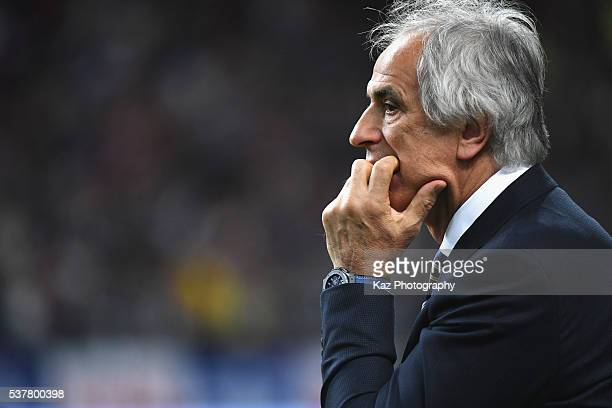 Vahid Halilhodzic head coach of Japan looks on during the international friendly match between Japan and Bulgaria at the Toyota Stadium on June 3...