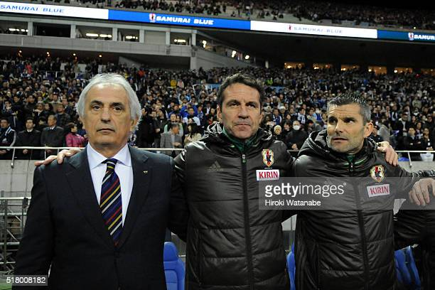 Vahid Halilhodzic head coach of Japan looks on prior to the FIFA World Cup Russia Asian Qualifier second round match between Japan and Syria at the...