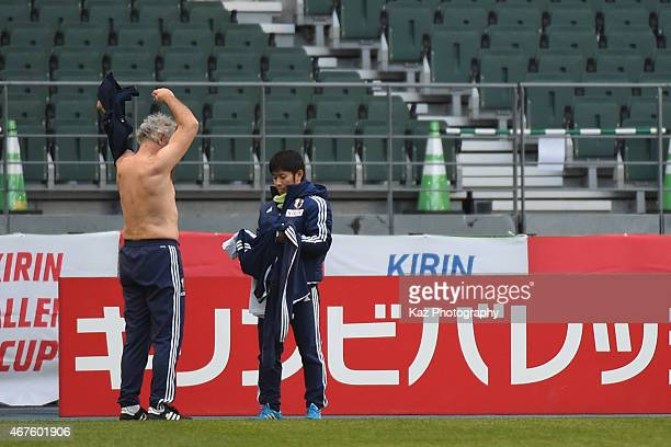 Vahid Halilhodzic manager of Japan changes clothes after the jogging during the training ahead of their international friendly match between Japan...