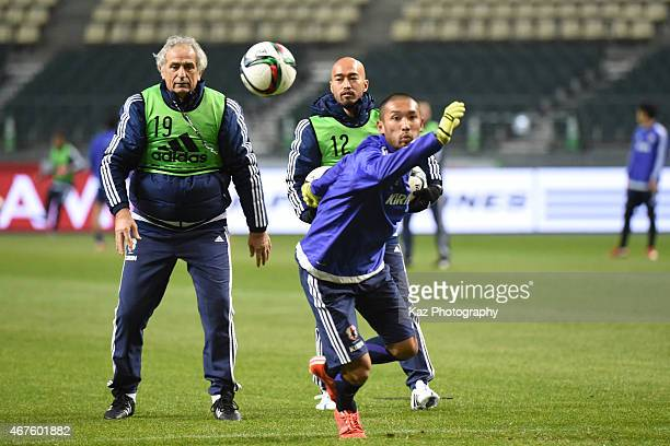 Vahid Halilhodzic manager of Japan instructs Kengo Kawamata of Japan during the training ahead of their international friendly match between Japan...