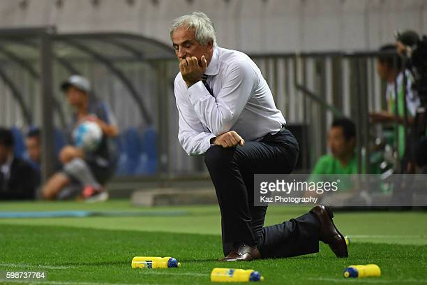 Vahid Halilhodzic manager of Japan looks dejected during the 2018 FIFA World Cup Qualifiers Group B match between Japan and United Arab Emirates at...