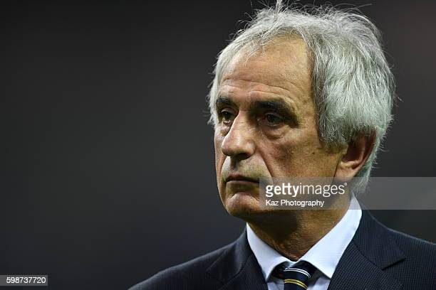 Vahid Halilhodzic manager of Japan looks on during the 2018 FIFA World Cup Qualifiers Group B match between Japan and United Arab Emirates at Saitama...
