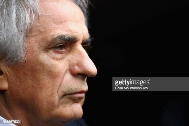 Vahid Halilhodzic Manager of Japan looks on during the International Friendly match between Japan and Ukraine at Stade Maurice Dufrasne on March 27...