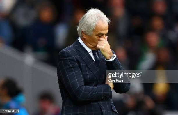 Vahid Halilhodzic Manager of Japan reacts during the international friendly match between Brazil and Japan at Stade PierreMauroy on November 10 2017...
