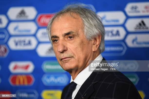 Vahid Halilhodzic Manager of Japan speaks to the media after the Final Draw for the 2018 FIFA World Cup Russia at the State Kremlin Palace on...