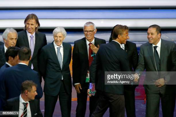 Vahid Halilhodzic of Japan Ricardo Gareca of Peru Jose Pekerman of Colombia Hector Cuper of Egypt and Nabil Maaloul of Tunisia are seen after the...