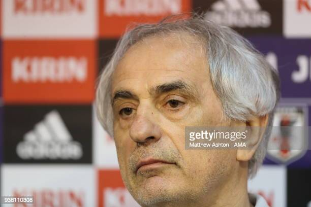 Vahid Halilhodzic the head coach / manager of Japan at a press conference during the Japan Training Session at Stade de Sclessin on March 20 2018 in...