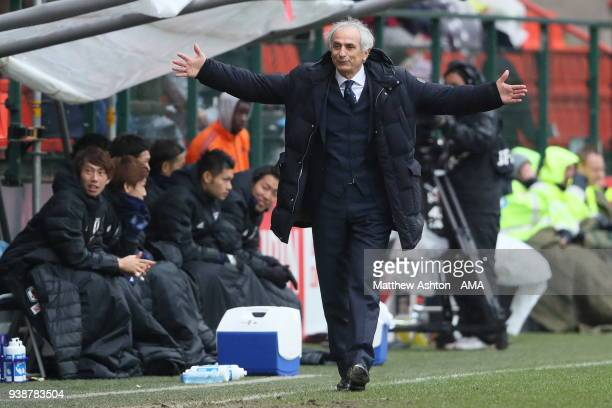Vahid Halilhodzic the head coach / manager of Japan during the International Friendly between Japan and Ukraine at Stade Maurice Dufrasne on March 27...