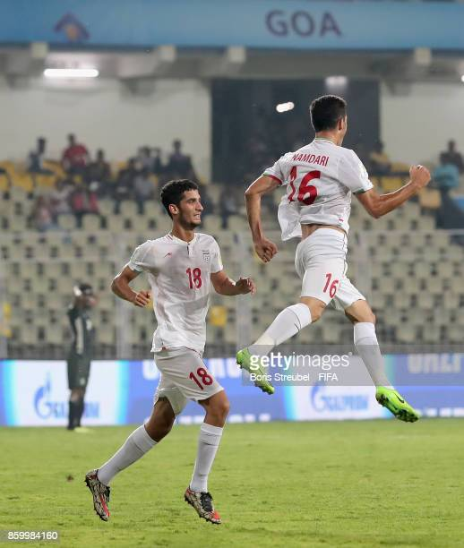 Vahid Namdari of Iran celebrates after scoring his team's fourth goal during the FIFA U17 World Cup India 2017 group C match between Iran and Germany...