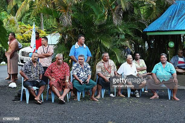 Vaiala residents listen as New Zealand All Blacks Head Coach Steve Hansen is made a Honorary High Chief Of Vaiala on July 9 2015 in Apia Samoa Hansen...