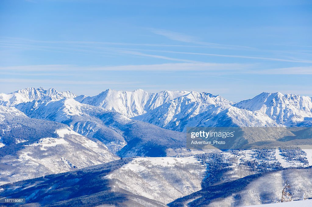 Vail Colorado Back Bowls and Gore Range Mountains Winter Landscape : Stock Photo