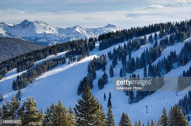 vail colorado ski runs and gore range mountains - gore range stock photos and pictures