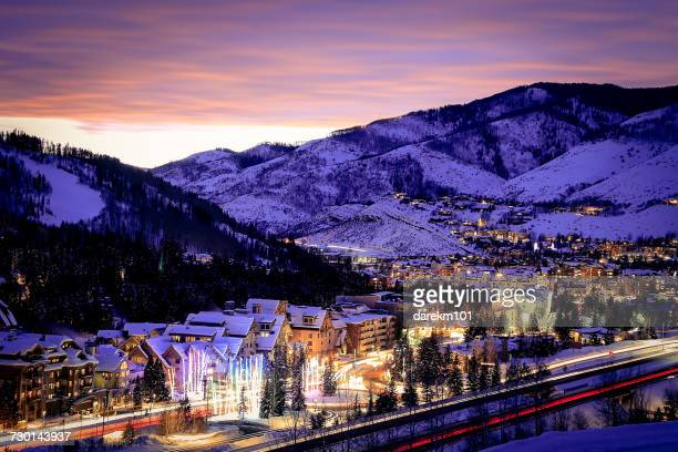 Vail Village at dusk, Colorado, America, USA