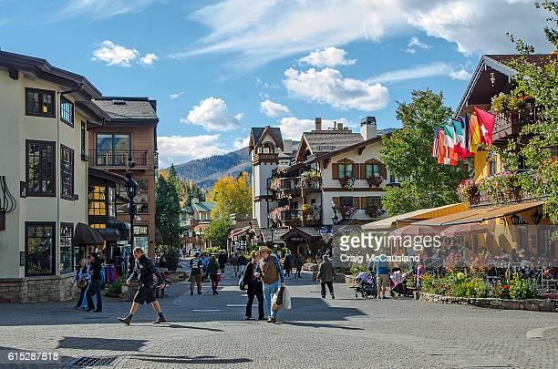 vail village in vail, colorado - aspen tree stock pictures, royalty-free photos & images