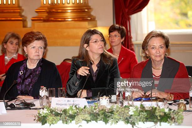 Vaira VikeFreiberga Margerida Barroso and Queen Paola of Belgium attend a conference about Vulnerable children on the run at The Royal Palace on...