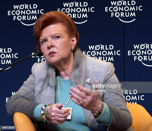 Vaira VikeFreiberga president of Latvia is seen during a panel discussion at the World Economic Forum in Davos Switzerland January 23 2004