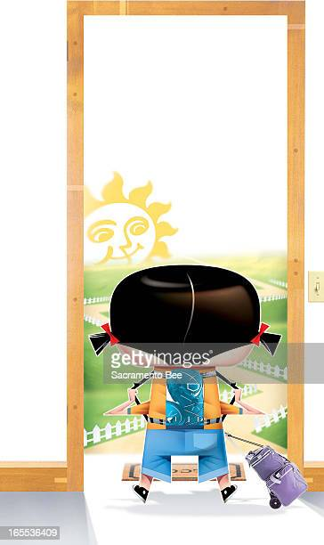 Val B Mina color illustration of girl with backpack and luggage standing in doorway open to sunshine and country road
