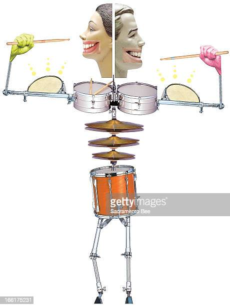Val B Mina color illustration of twoheaded human figure made up of different percussion instruments can be used with stories about physical fitness...