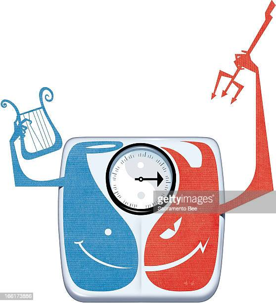 Val B Mina color illustration of weight scale divided into good and evil