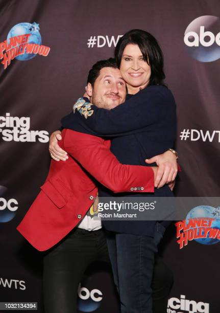 Val Chmerkovskiy and Nancy McKeon attend Dancing With The Stars Season 27 Cast Reveal Red Carpet At Planet Hollywood Times Square at Planet Hollywood...