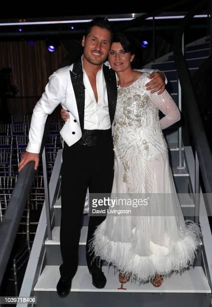 Val Chmerkovskiy and Nancy McKeon pose at Dancing with the Stars Season 27 at CBS Televison City on September 24 2018 in Los Angeles California
