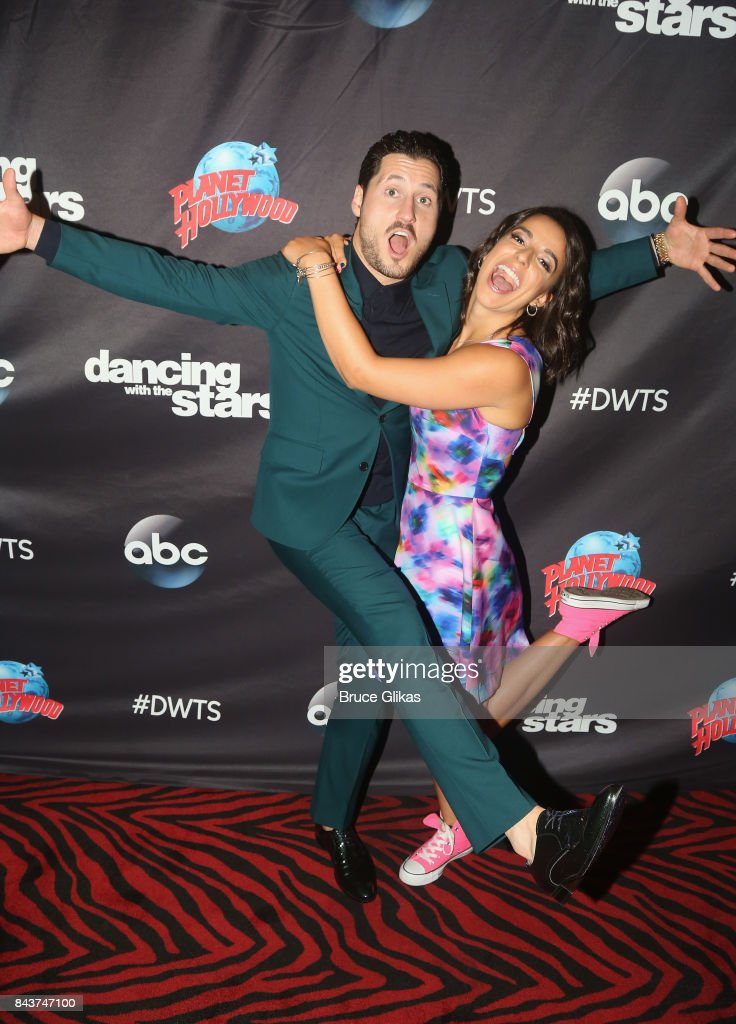 Val Chmerkovskiy and Victoria Arlen pose at ABC's 'Dancing with the Stars' Season 5 cast announcement event at Planet Hollywood Times Square on September 6, 2017 in New York City.