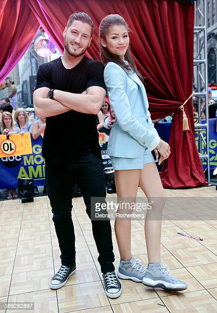 Val Chmerkovskly and Zendaya Coleman from Dancing With the Stars visit ABC's Good Morning America at ABC Studios on May 22 2013 in New York City