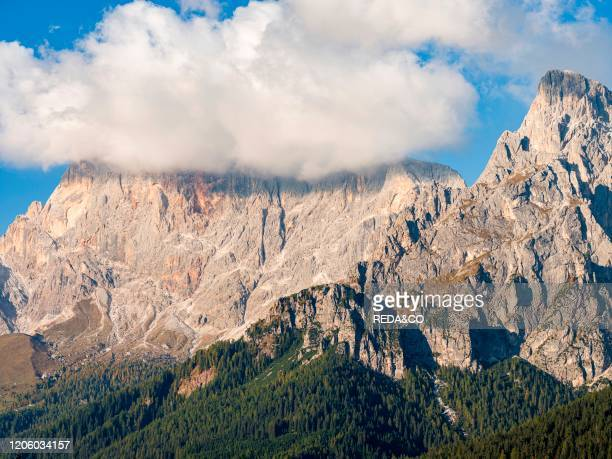 Val Cismon and the Pale di San Martino, part of UNESCO world heritage Dolomites, in the dolomites of the Primiero. Europe, Central Europe, Italy.