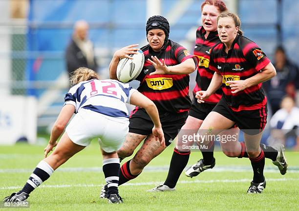 Val Davis of Canterbury looks to fend off Teresa Te Tamaki of Auckland during the Women`s NPC Rugby Final match between Auckland and Canterbury at...