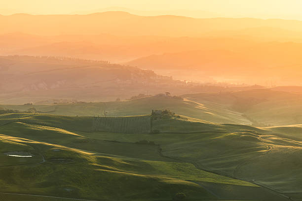 Val D'Orcia Landscape At Sunrise, Tuscany Wall Art