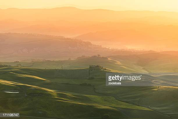 Val d'Orcia Landscape at Sunrise, Tuscany
