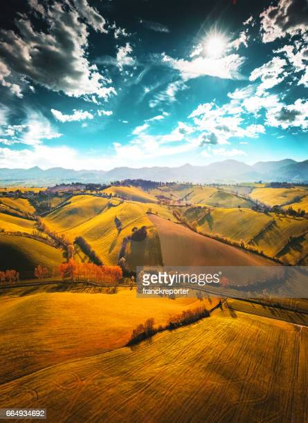 val d'orcia landscape - siena italy stock photos and pictures